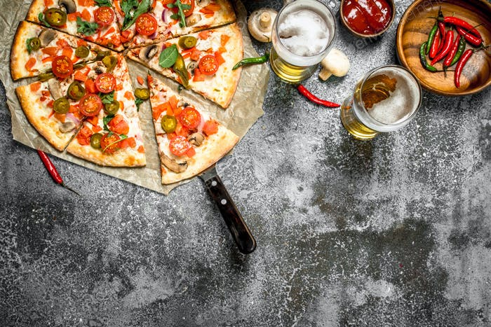 Mexican pizza with cold beer.