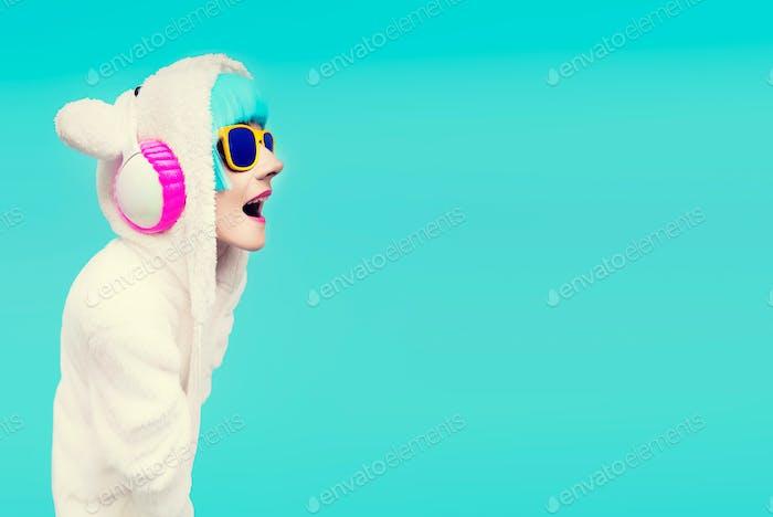 Funny DJ Girls Sweatshirt Teddy Bear in a blue background listen