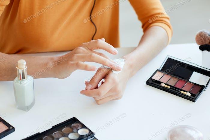 Woman Testing Beauty Product