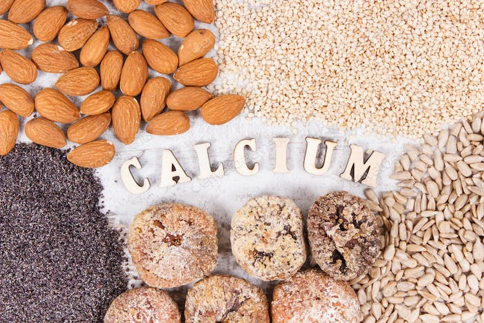 Inscription calcium and natural food containing minerals and dietary fiber