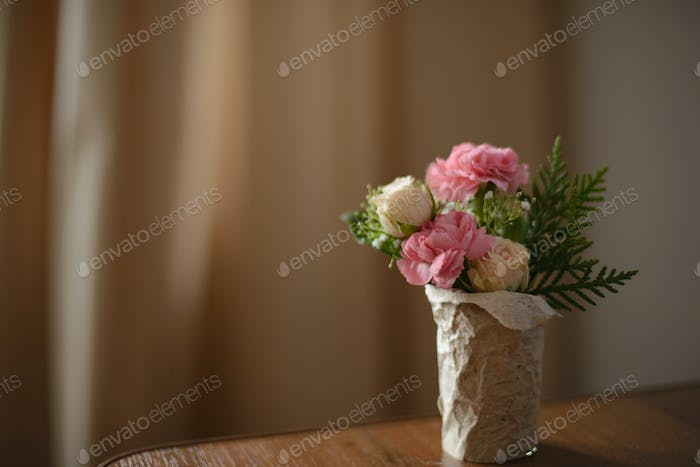bouquet of roses and peony
