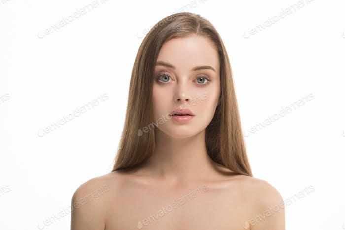 Long hair woman beauty healthy skin clean natural make up
