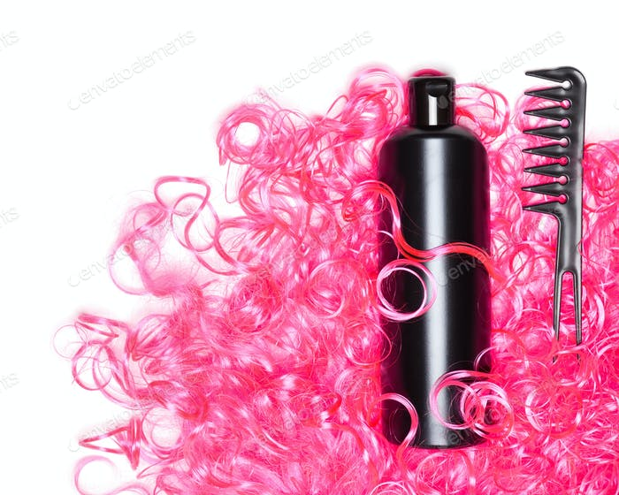 Curly hair treatment concept with copy space