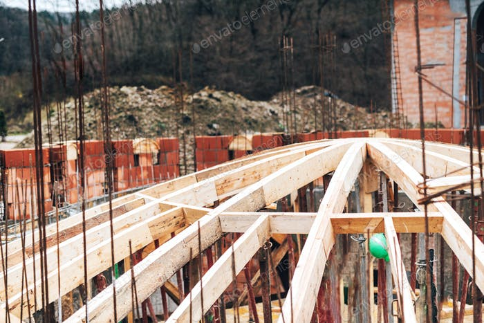 Monastery construction site, architecture arch dome wooden frame