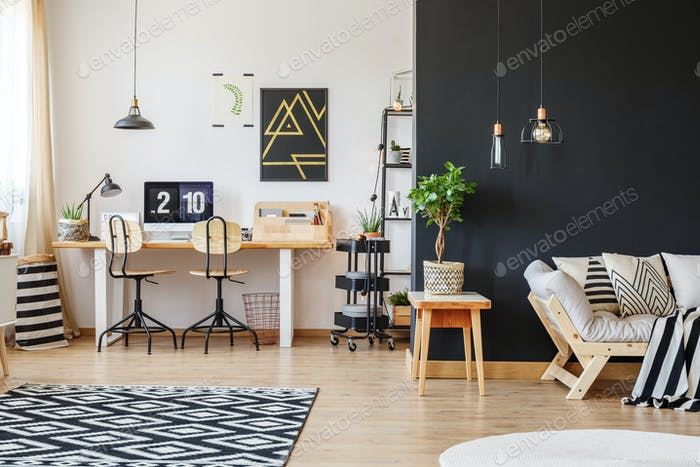 Trendy workspace with two chairs
