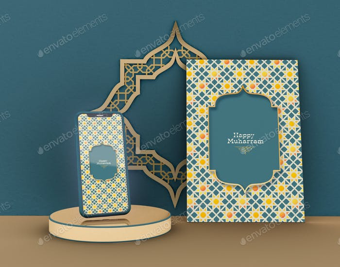 3D Illustration. Eid Mubarak. Muslims community celebration.
