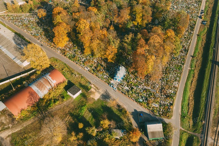 Kobryn, Brest Region, Belarus. Cityscape Skyline In Autumn Sunny Day. Bird's-eye View Of St