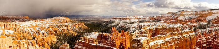 Fresh Snow Blankets Bryce Canyon Rock Formations Utah USA Storm