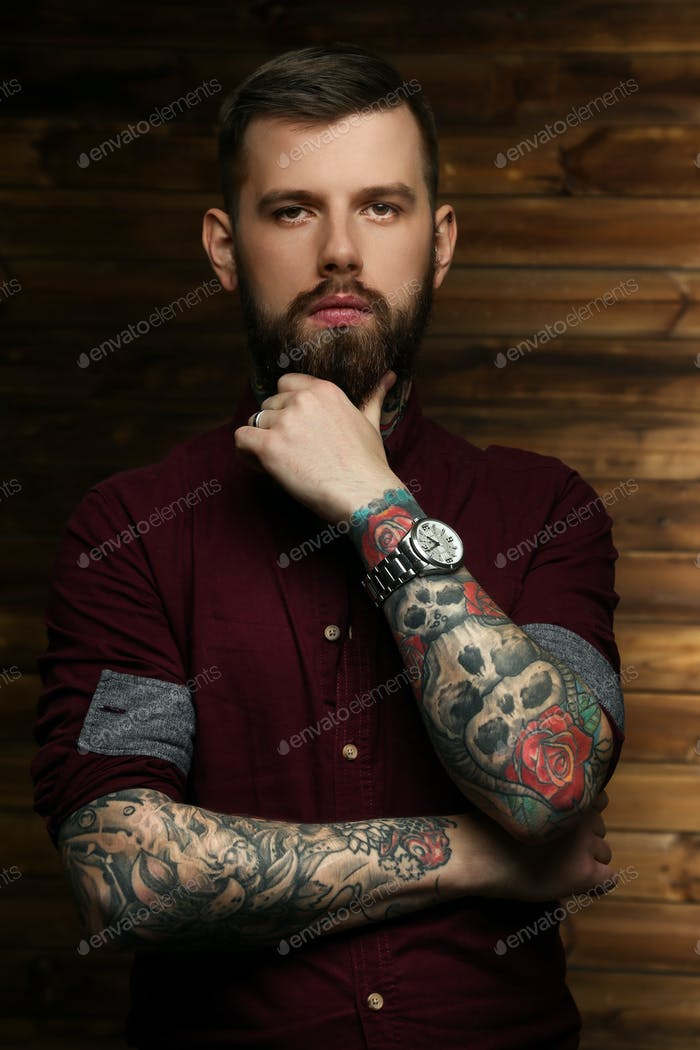 Handsome man with tattoos
