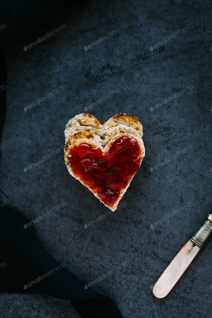 Heart Shaped Toast with Strawberry Jam