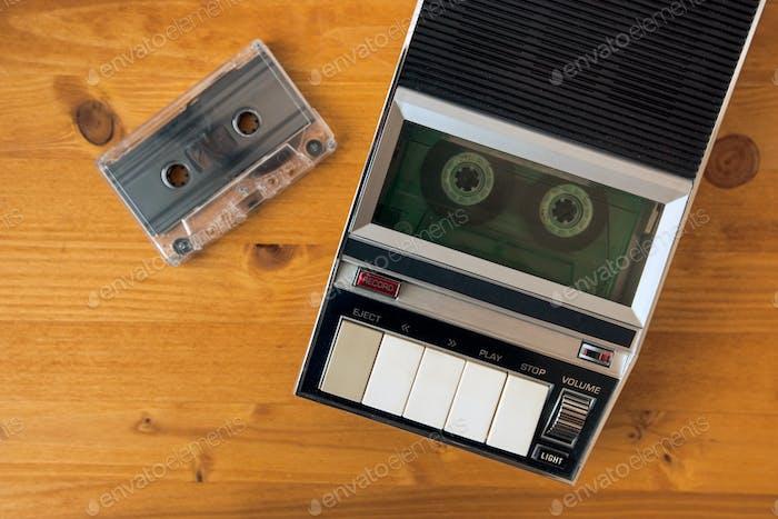 Audio Kassettenband Rollen im Vintage-Player