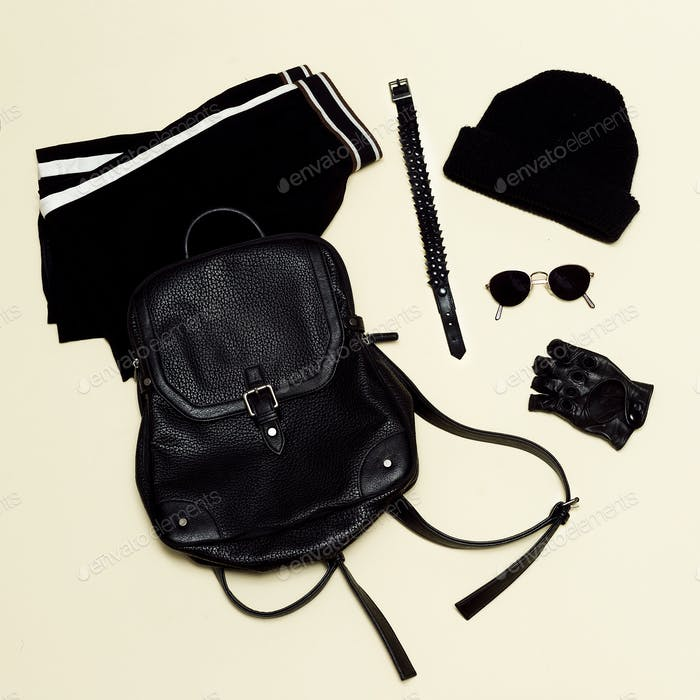 Black fashion set. Backpack and black accessories. Glasses;. Glo