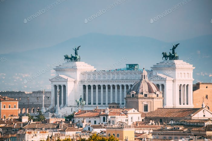 Rome, Italy. View Of Vittorio Emanuele Ii Monument Also Known Al