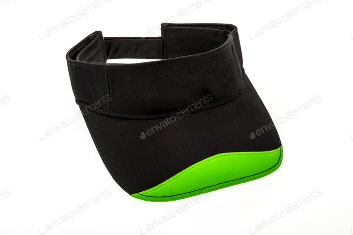 Junior Golf Visor, Black and Green on White background