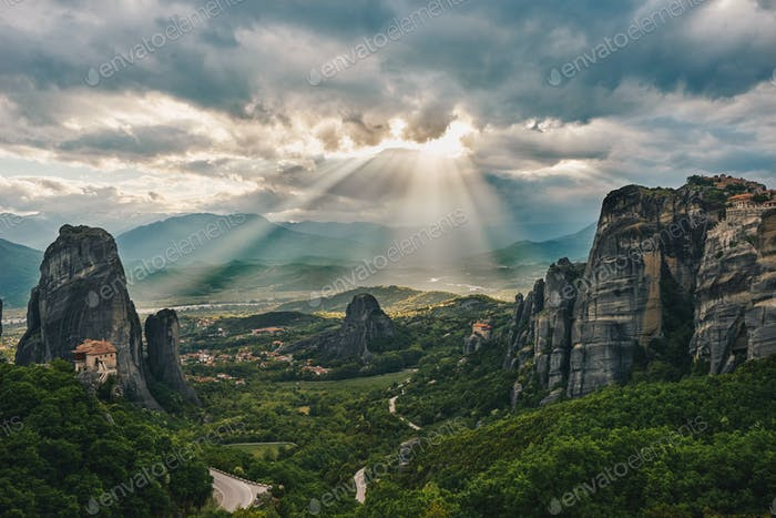 Sunset of Meteora, Greece - Meteora Rocks landscape