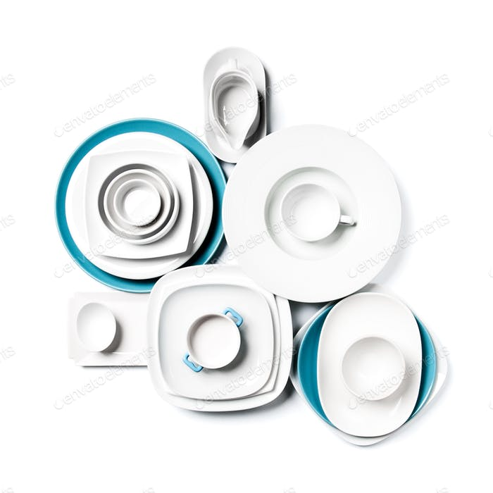 White and blue porcelain dishes on a clean white background.