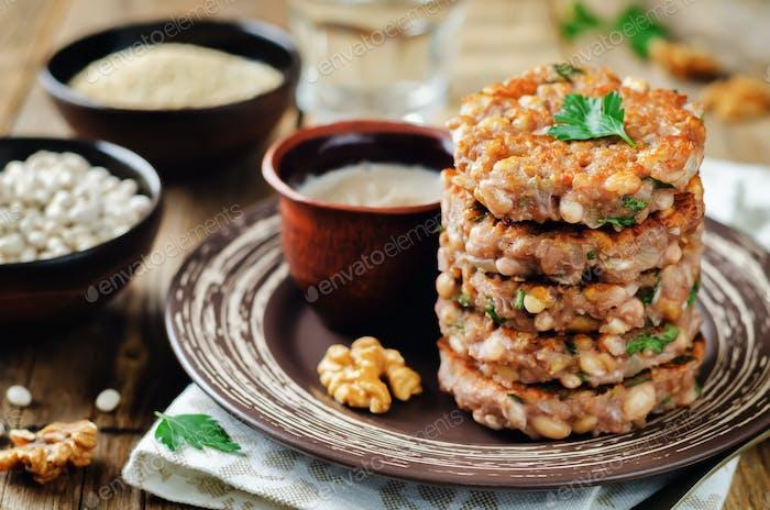Quinoa walnuts White Beans Parsley Burgers