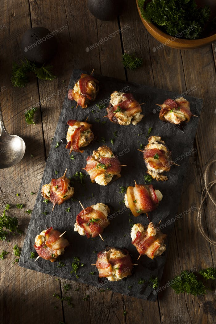 Homemade Bacon Wrapped Mushrooms
