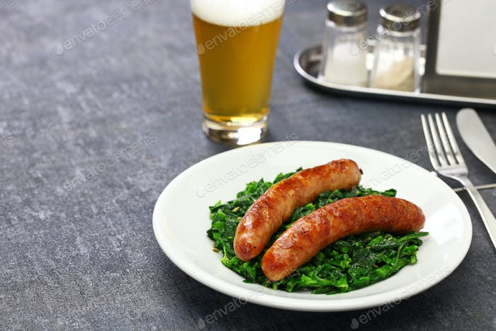 salsiccia e cime di rapa, sausage and braised tunip greens