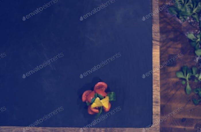 delicious decoration of farm fresh vegetables top view