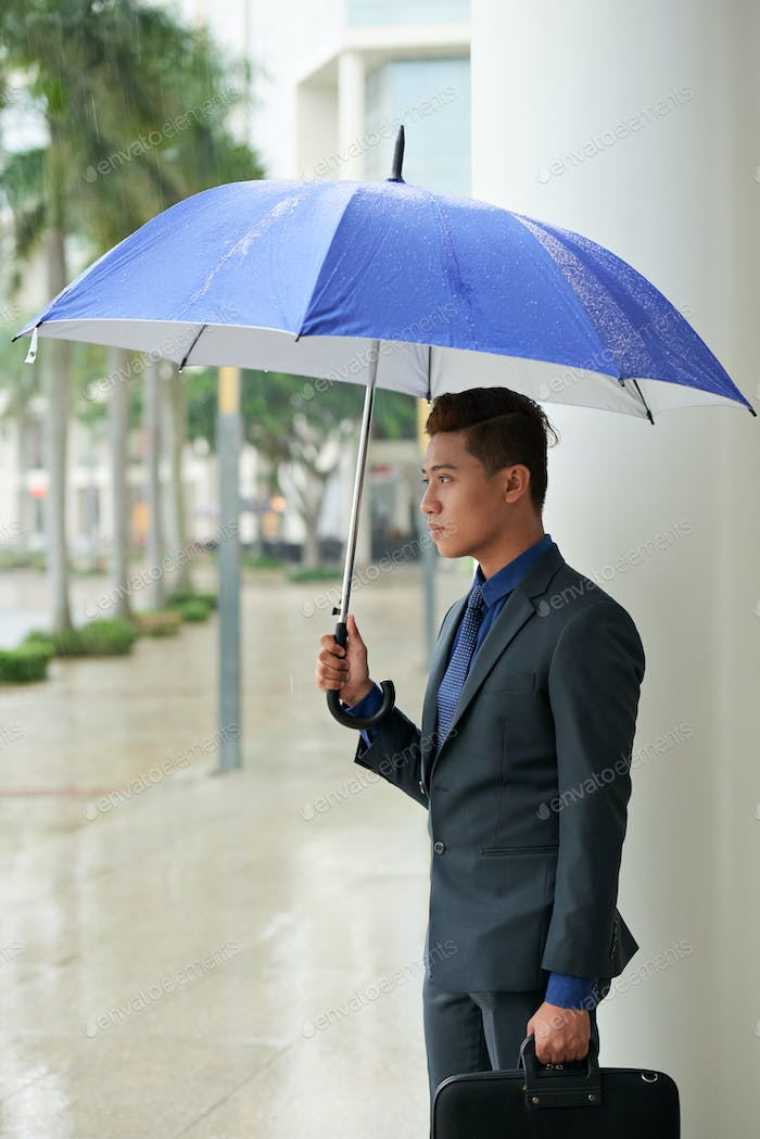 Handsome Asian Businessman with Umbrella
