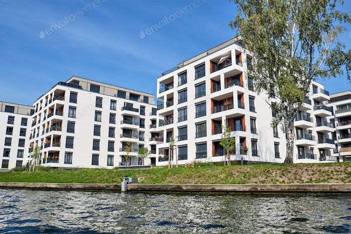 Modern apartment buildings at the river Spree
