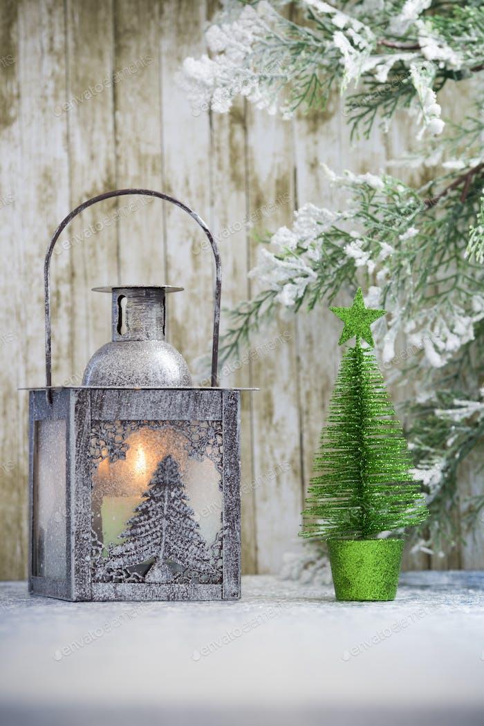 Christmas decorations with lantern. Christmas greeting card.