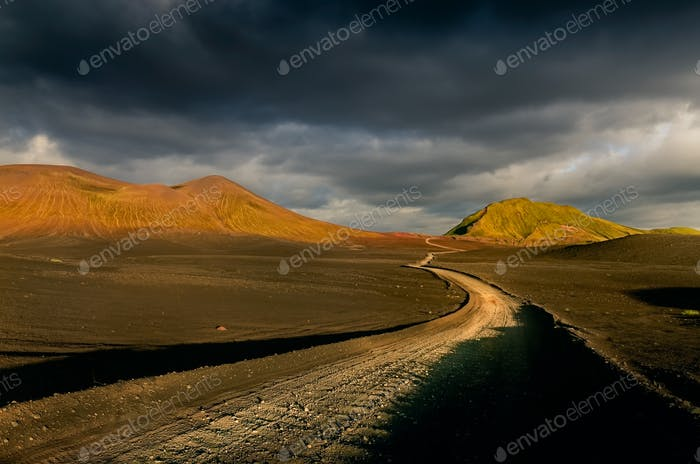 Landscape view of Lndmannalaugar volcanic mountains and the road, Iceland