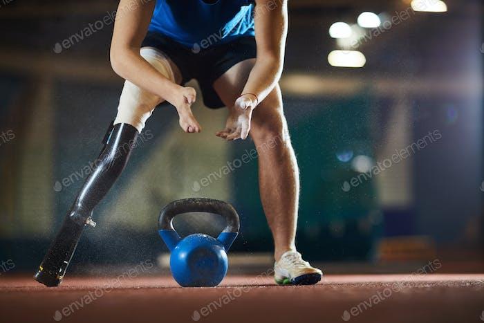 Athlete over kettlebell