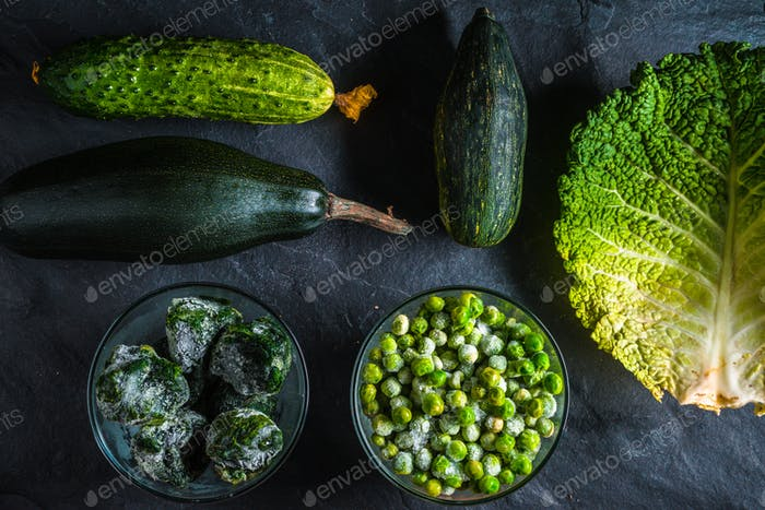 Green vegetables healthy on the table