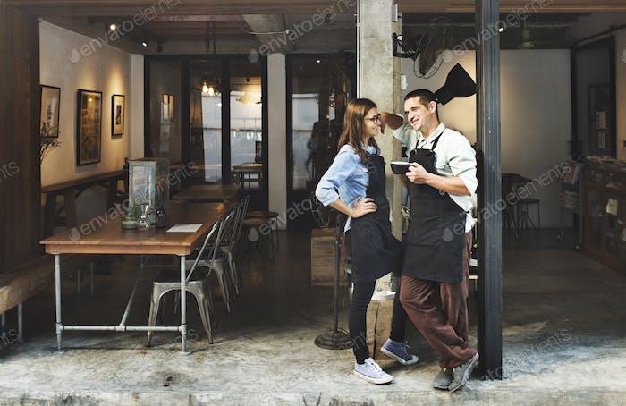 Couple Barista Coffee Shop Service Restaurant Concept