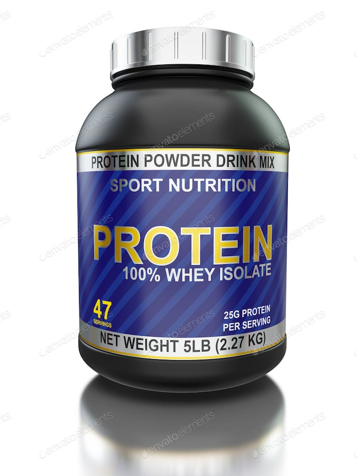Whey isolate protein jar isolated on white