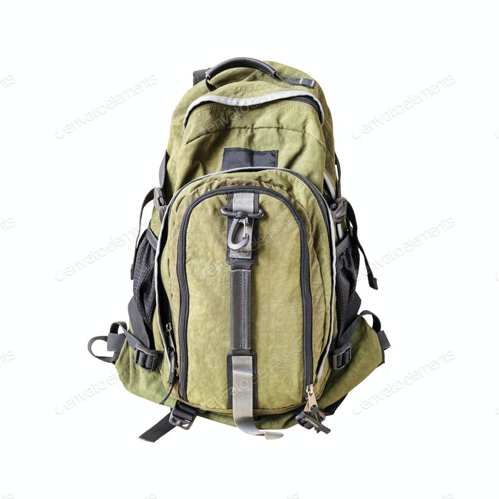 Green khaki backpack isolated on white