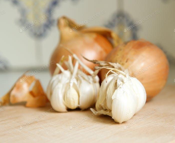 Close up onions and garlic