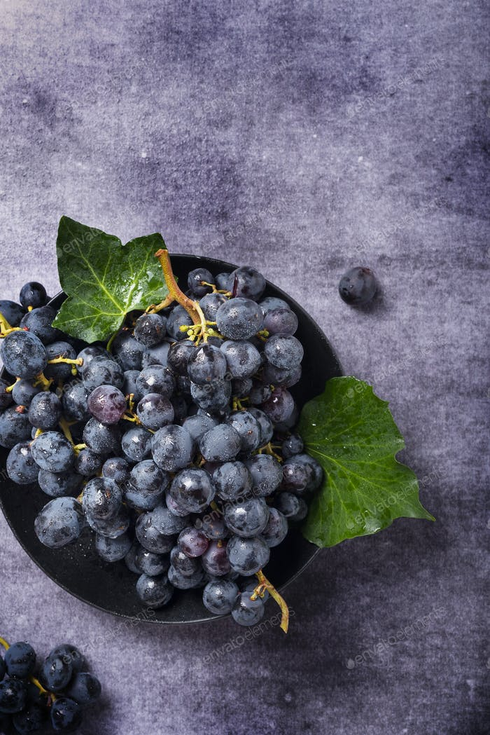black grape with green leaves