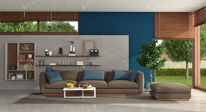 Living room of a modern villa with sofa and footstool
