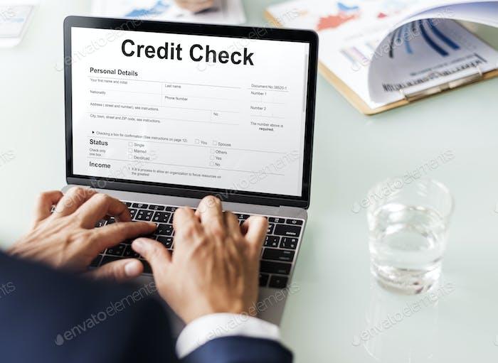 Cheque de crédito Concepto de Economía de la Banca Financiera