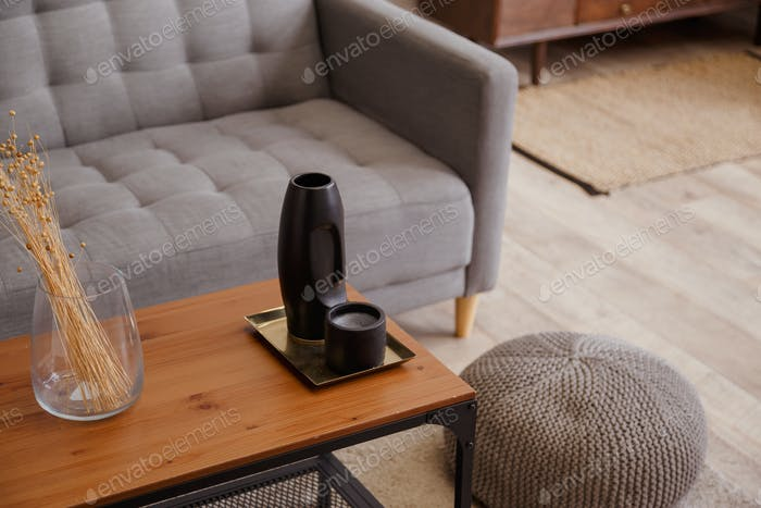 Moderno apartamento interior de la sala de estar con sofá mesa de café