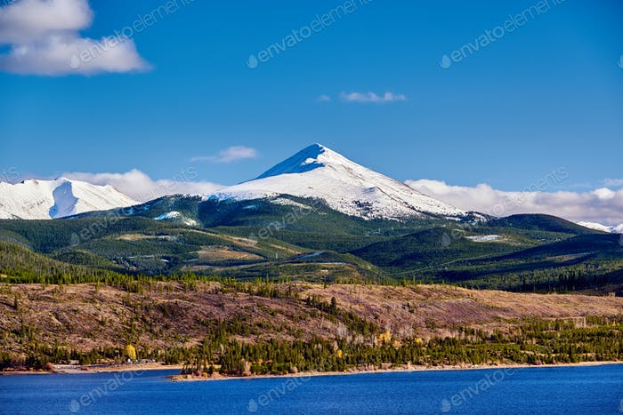 Dillon Reservoir and Swan Mountain. Rocky Mountains, Colorado