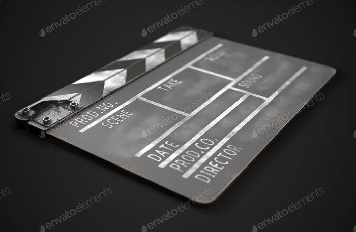 Black clapperboard. Realistic 3d illustration. Movie clapper board. 3d rendering image.