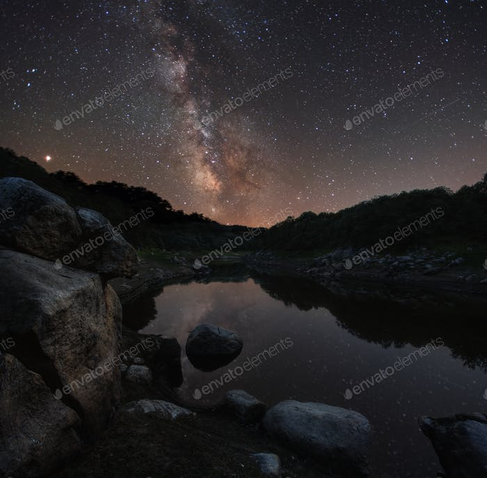 Mars and the Milky Way on the Minho River