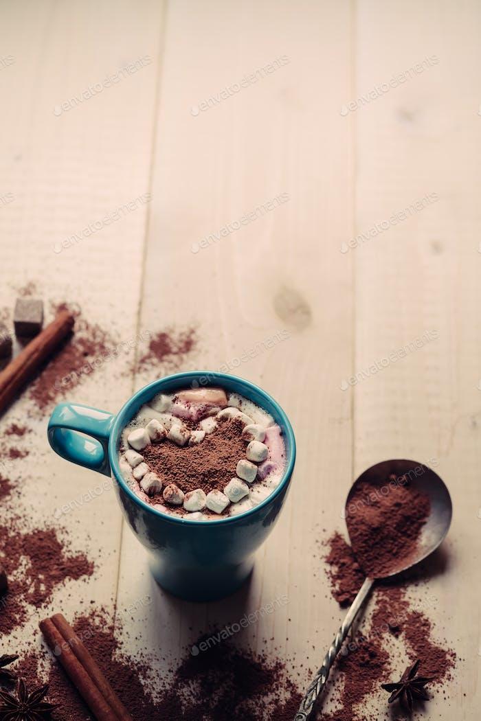 Valentine's day background, copy space, Latte art