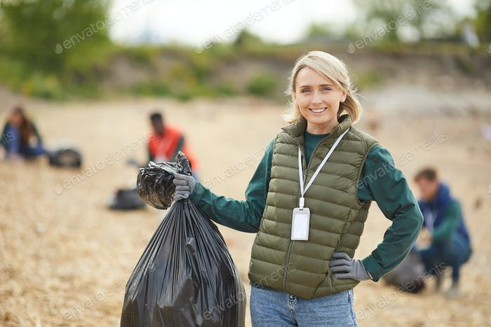 Young woman with garbage