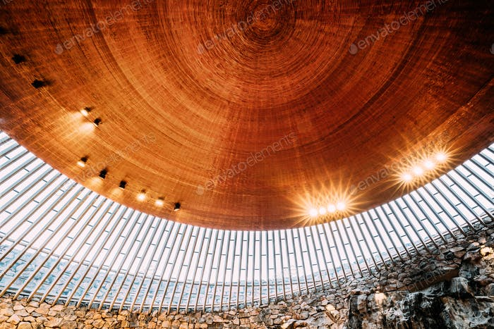 Helsinki, Finland. Interior Of Lutheran Temppeliaukio Church Als