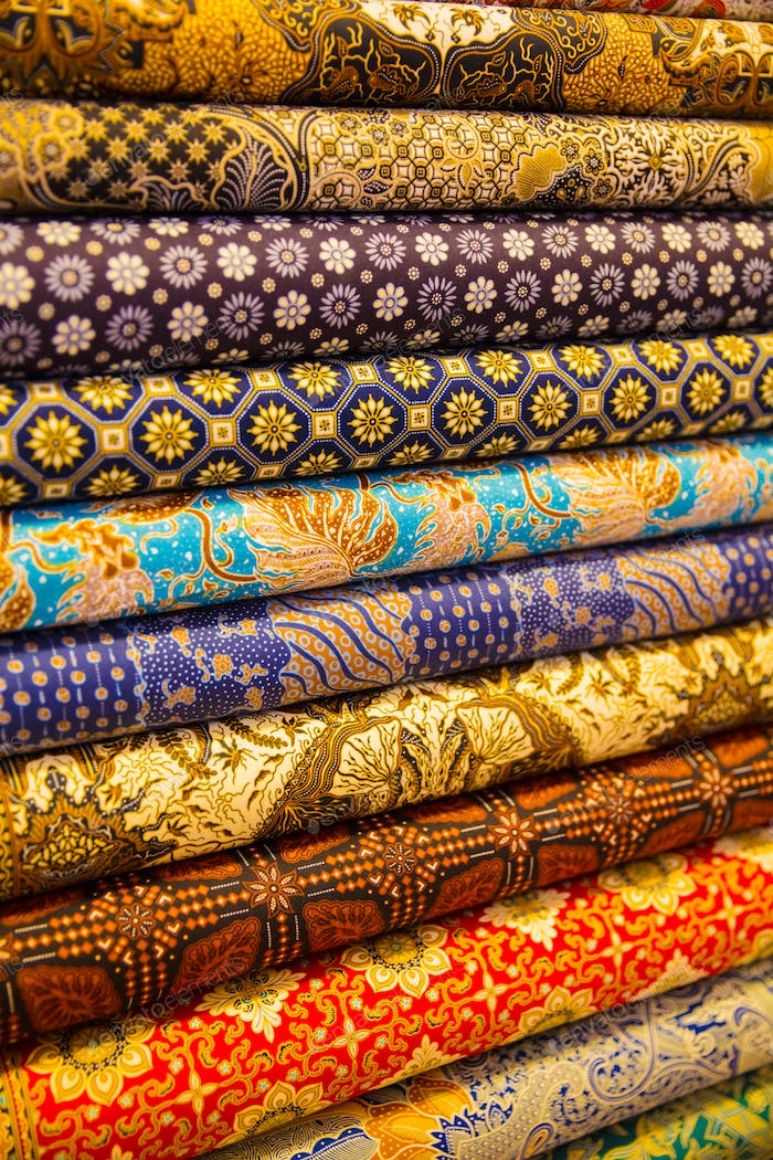 Stacked Fabric Displayed In Shop