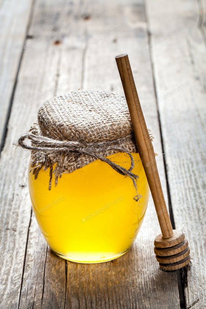 Jar of Honey with Honey Dipper
