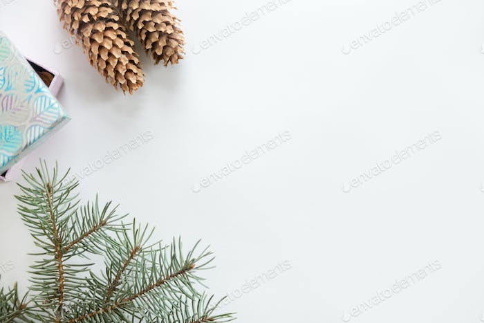 Flat view of Christmas decoration, copyspace