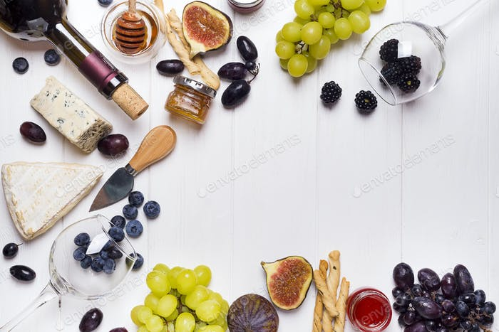 White wine, grape, bread, honey and cheese