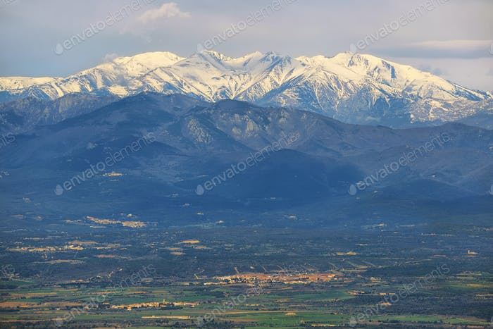 Snowed peak of Canigou mountains from Verdera Castle, Spain