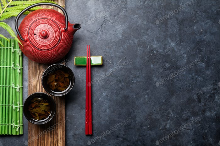 Green tea and sushi chopsticks